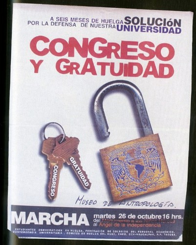Imagen de Cartel A seis meses de la huelga solución por la defensa de nuestra universidad Congreso y Gratuidad (atribuido)