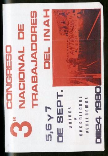 Imagen de Cartel Tercer Congreso Nacional de Trabajadores del INAH (atribuido)