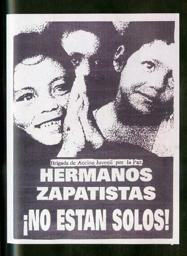 Imagen de Cartel Brigada de Acción Juvenil por la paz Hermanos Zapatistas ¡No están solos! (atribuido)