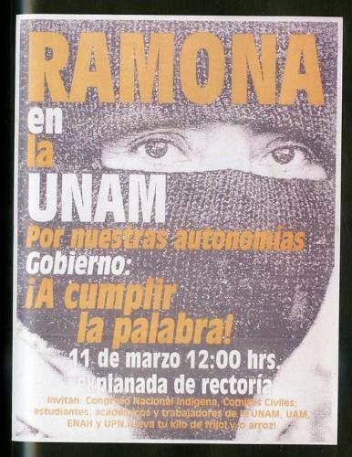 Imagen de Cartel Ramona en la UNAM por nuestras autonomías Gobierno: ¡A cumplir la palabra! (atribuido)