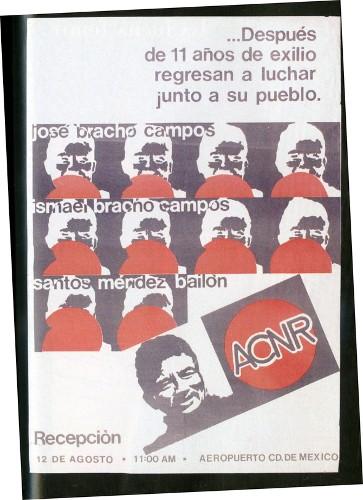 Imagen de Cartel … Después de 11 años de exilio regresan a luchar junto a su pueblo ACNR (atribuido)