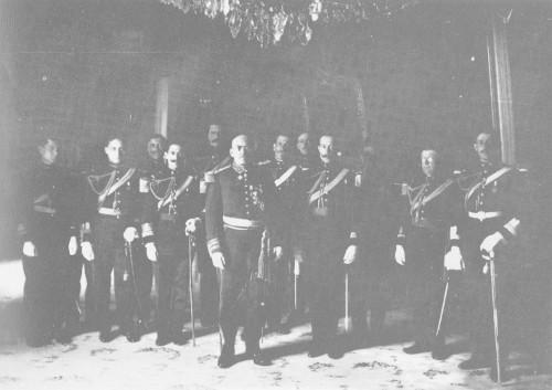 Imagen de Victoriano Huerta con su Estado Mayor, retrato de grupo