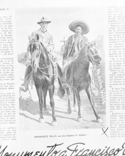 Imagen de Francisco Villa y Gustavo A. Madero montan a caballo,  retrato