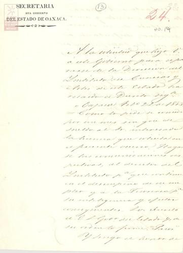 Imagen de Expediente 019: Licencia para ausentarse del Instituto de Ciencias y Artes de Oaxaca