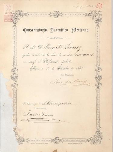 Imagen de Expediente 020: Socio honorario del Conservatorio Dramático Mexicano