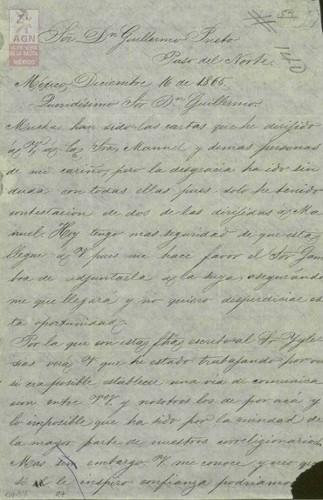 Imagen de Expediente 054: Carta de Antonio A. Sánchez a Guillermo Prieto