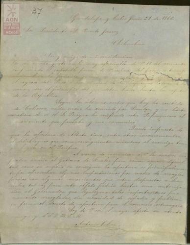 Imagen de Expediente 092: Carta de Antonio Ochoa al Presidente Juárez
