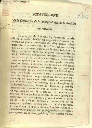 Imagen de Acta solemne de la declaración de la Independencia de la América Septentrional