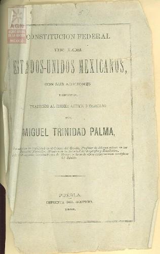 Imagen de Expediente único: Constitución Federal de los Estados Unidos Mexicanos con sus adiciones y reformas.Traducido al idioma Azteca o mejicano.