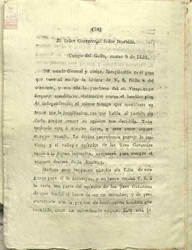 Imagen de Carta de Vicente Guerrero a Agustín de Iturbide