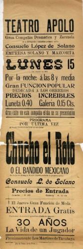 Imagen de El Teatro Apolo presenta: Chucho El roto o El bandido mexicano