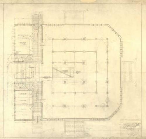 Imagen de Planta de distribución y acabados para la propuesta de adecuación del museo forestal del quiosco de Chapultepec