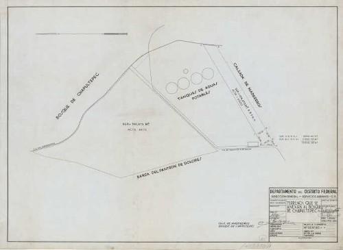 Imagen de Planta de los terrenos de los tanques de agua potable que se anexarán al bosque de Chapultepec, elaborado por F. Ríos Venegas
