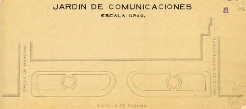 Imagen de Plano en papel glassine. Planta de distribución del jardín del palacio de comunicaciones y obras públicas