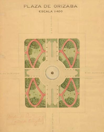 Imagen de Planta de conjunto de la plaza de Orizaba, (actualmente jardín Río de Janeiro)