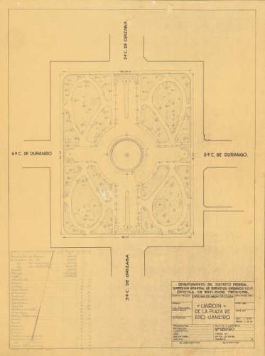 Imagen de Planta de distribución de la plaza Río de Janeiro, con cuadro de datos y signos convencionales