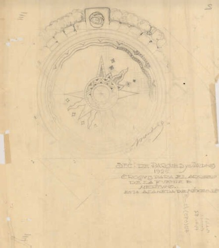Imagen de Planta arquitectónica de la fuente de Neptuno en la Alameda Central, plano elaborado por Vicente Mendiola