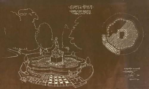 Imagen de Perspectiva y planta arquitectónica de la fuente de Venus en la Alameda Central, plano elaborado por Vicente Mendiola