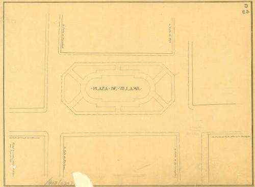 Imagen de Planta arquitectónica de conjunto y distribución del jardín de la plaza de Villamil, elaborado por A. Gómez
