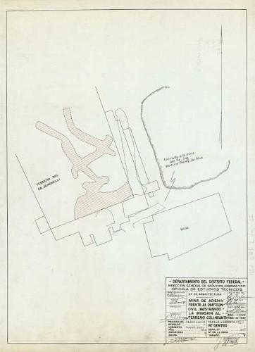 Imagen de Levantamiento del estado actual del terreno de la mina de arena frente al panteón civil, mostrando la invasión al terreno colindante, elaborado por C. Monroy.
