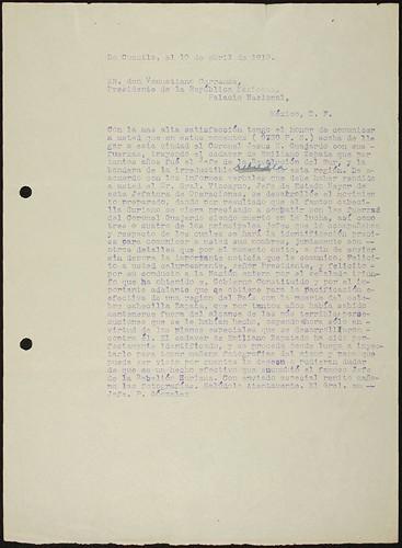 Imagen de Informe del Gral. Pablo González sobre la muerte de Emiliano Zapata