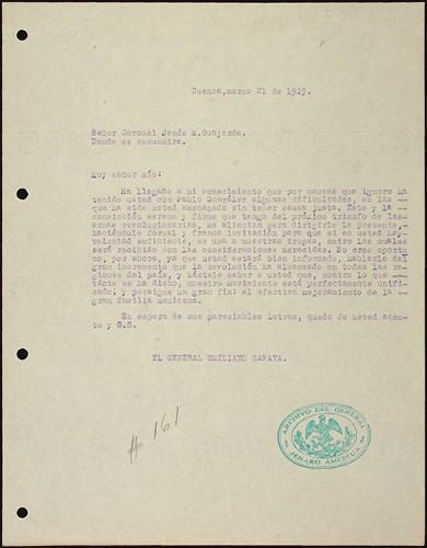 Imagen de Invitación de Emiliano Zapata a Jesús Guajardo