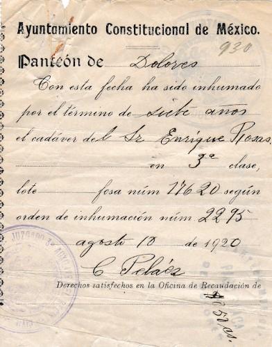 Imagen de Documento de Inhumación del Panteón Dolores