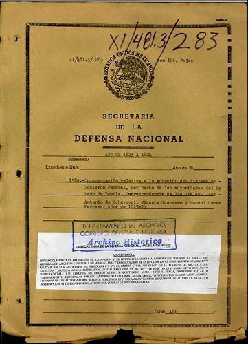 Imagen de Documentos sobre la adopción del sistema federal en Puebla, correspondencia entre Generales (atribuido)