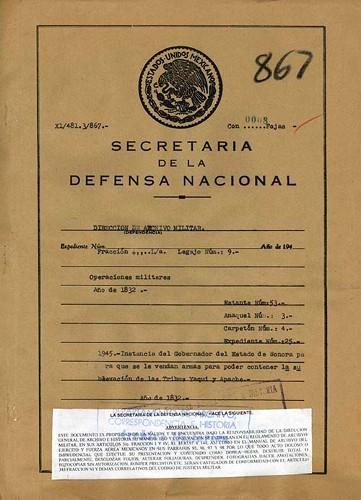 Imagen de Instancia del Gobernador del Estado de Sonora para que se le vendan armas para poder contener la sublevación de las tribus yaqui y apache (propio)