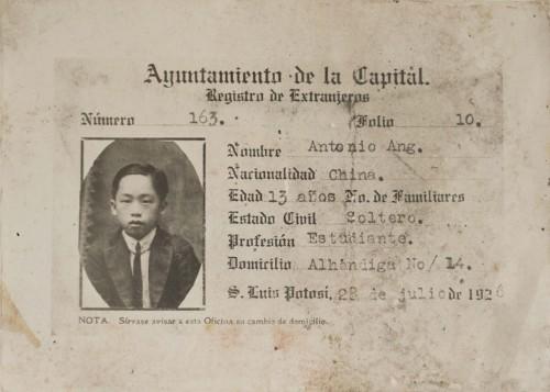 Imagen de Ficha de Registro (propio), Ficha de Registro de Extranjeros de Antonio Ang (atribuido)