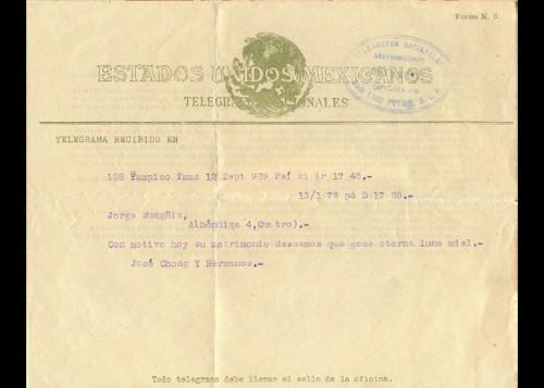 Imagen de Telegrama de José Chong y sus hermanos a Jorge Wongñis (atribuido)